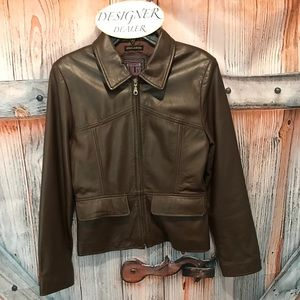 ADLER Lambskin Leather Faux Jacket Size Small VGC